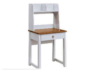 简美风格 主材北美白蜡木 新西兰松木 北美红橡木 深咖色+象牙白 双拼色 儿童独立书桌(含书架)