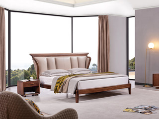 意式极简 优雅胡桃木框架 创意床头 时尚超纤皮软靠 1.8*2.0m床