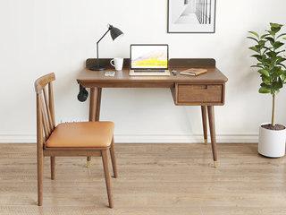 北欧风格 榉木坚固框架 胡桃色 软垫餐椅