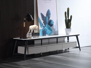 极简风格 岩板 实木抽屉(缓冲轨道) 碳素钢框架脚 电视柜