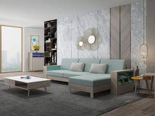 现代简约 坚韧白蜡木 实木框架 储物扶手 转角沙发(3+左贵妃)