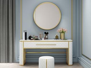 轻奢风格 润泽大理石台面 精细几何压纹 白色 1.2m妆台