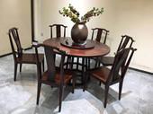 檀宫御品 新中式 FA1902 优质进口小乌金木  1.35米圆餐台(含转盘)