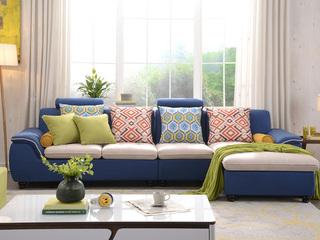 布艺沙发组合小户型简约靠枕可升降功能客厅家具蓝色 沙发组合(1+3+左贵妃)