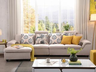 布艺沙发组合小户型简约靠枕可升降功能客厅家具米黄色 沙发组合(1+3+右贵妃)