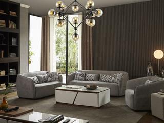实木框架 现代简约 亲肤绒布系列浅灰色1+2+3