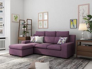 现代风格 小户挚爱 时尚舒适转角沙发紫色 3+脚踏
