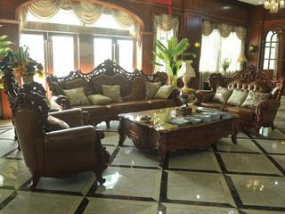 进口桃花芯木 实木头层皮沙发 美式古典风格 1+2+4沙发