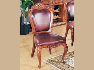 进口桃花芯木实木 头层牛皮 高档实木真皮餐椅 美式古典风格 无扶手椅