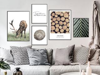 客厅装饰画北欧风格组合五联画现代简约麋鹿创意卧室壁画餐厅挂画