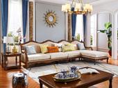 维格兰 简美风格 进口橡胶木 坚固有形 金丝柚木色 颜色靓丽 店长推荐 美式转角沙发(1+3+左贵妃)