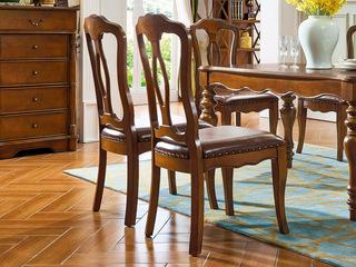 美式风格 金丝楠木色 实木 餐椅