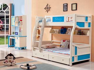 蓝白下床1.43*1.92米 上床1.13*1.92米挂梯子母床 (不含抽屉+书架)