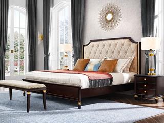 保时捷系列 意式轻奢风格 现代简约软靠双人床 进口胡桃木 1.8米床