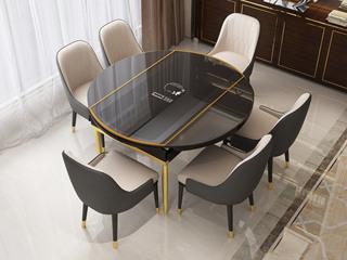 可伸缩1.5米餐桌 带电磁炉功能 后现代轻奢系列 钢化玻璃台面 不锈钢拉丝钛金底架