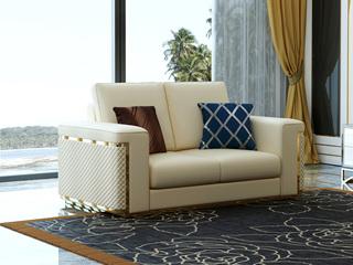 轻奢风格 米白色 头层真皮 北美进口落叶松框架 双人沙发(抱枕随机发货)