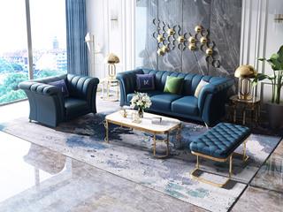 轻奢风格   深蓝 皮艺 北美进口落叶松框架 8818沙发组合(1+3+脚踏)(抱枕随机发货)