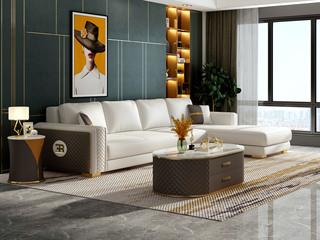 慕梵希 轻奢风格 优质头层黄牛皮  北美进口落叶松框架 D02沙发组合 (1+3+左贵妃)