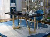 慕梵希 轻奢 黑 不锈钢镀金 玻璃C02书桌
