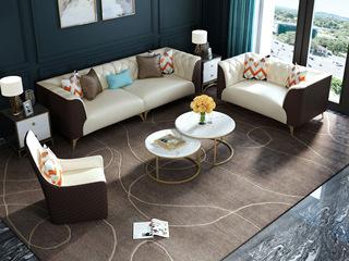 慕梵希 轻奢C05沙发米白配咖啡色 优质真皮沙发组合 1+2+4