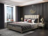 皮坊工藝 輕奢系列108床 1.5*2.0米米黃色布藝床