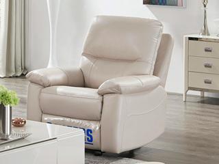 头等舱头层牛皮客厅真皮功能沙发 手动可摇可躺 小户型组合芝华士 单人位象牙白(此款不含抱枕)