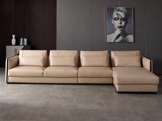 意式极简沙发 1818A皮艺转角沙发(1+3+左贵妃)