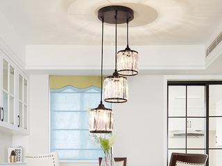 轻奢 铁艺+水晶罩1612-3圆盘餐吊灯(含E27光头强暖光12W)