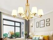 领秀照明 简美 铜本色+玻璃8802-6吊灯(含E27龙珠泡暖光7W)
