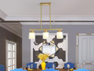 简美 铜本色8820-3餐吊灯(含E27龙珠泡暖光7W)