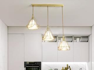 北欧 铜本色8824-3长餐吊灯(含E27龙珠泡暖光7W)