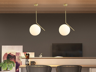 北欧 铜本色8826-1Φ20餐吊灯(含E14尖泡5W暖光)