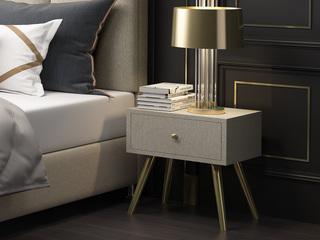 轻奢系列 米黄色 扪布  实木抽屉 床头柜