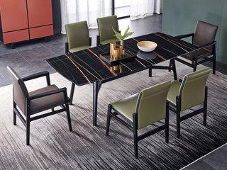 极简SQ-2长方形餐台 黑色大理石餐桌