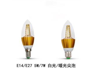 E27尖泡7W暖光光源 图片右侧
