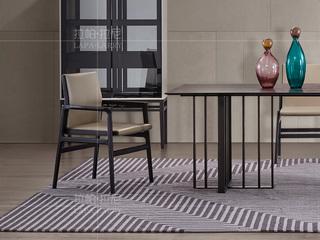极简系列 进口北美白蜡木 PVC黑色+灰色餐椅