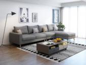 纾康 北欧 透气棉麻布艺 俄罗斯进口落叶松坚固实木框架 浅灰色 沙发组合(1+3+左贵妃)