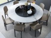米勒 现代简约 大理石 1.35米圆餐桌(含转盘)