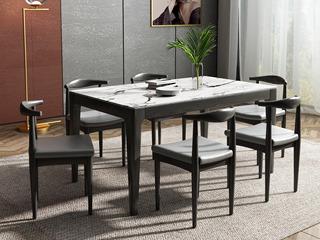 现代简约 1.3米 实木+大理石 餐桌
