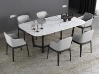 米勒 現代簡約 白色大理石 1.4米餐桌