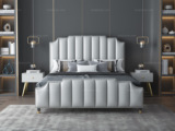艺家 轻奢风格 豪华款 浅灰色 优质超纤皮 1.8*2.0米床
