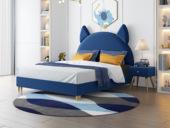 艺家 轻奢风格 经典款 藏蓝色绒布 齐边床 1.5*2.0米床