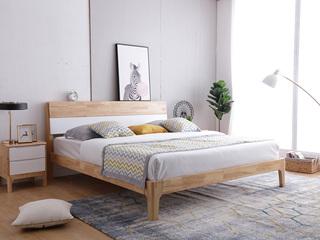 北欧风格 泰国进口橡胶木1.8米实木高箱床