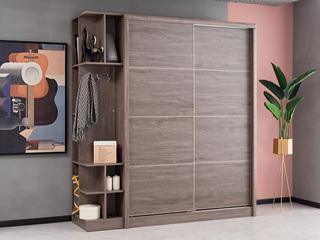 现代简约 高级灰 储物家用 1.8米趟门衣柜(不含左侧边柜)
