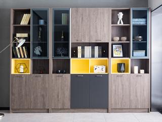 现代简约 高级灰 钢化玻璃 三门书柜(中间)