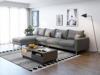 北欧 透气棉麻布艺 俄罗斯进口落叶松坚固实木框架 浅灰色 沙发组合(1+3+右贵妃)