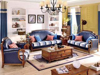 简美风格 仿真油腊皮+布艺 北美鹅掌楸木框架 纯铜装饰钉沙发组合(1+2+3)(抱枕随机发货)