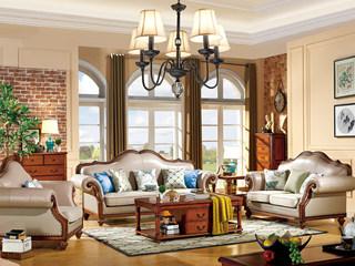 简美风格 头层真皮+布艺 北美鹅掌楸木框架 纯铜装饰钉沙发组合(1+2+3)(抱枕随机发货)