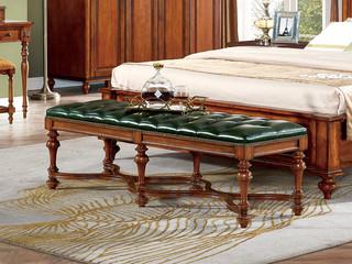 简美风格 北美鹅掌楸木 头层油蜡皮 床尾凳