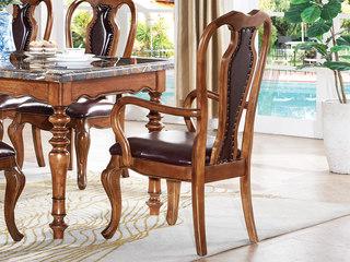 简美风格 北美鹅掌楸木 仿真油腊皮有扶手餐椅
